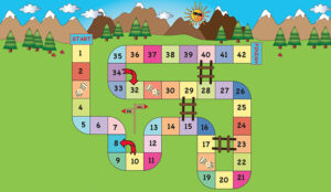 A snakes and ladders game, starting at 1 and finshing at 42. It had two snakes and 3 ladders on the board.