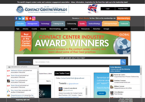 A screenshot of Contact Centre World