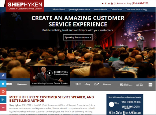 A screenshot of ShepHyken Webpage