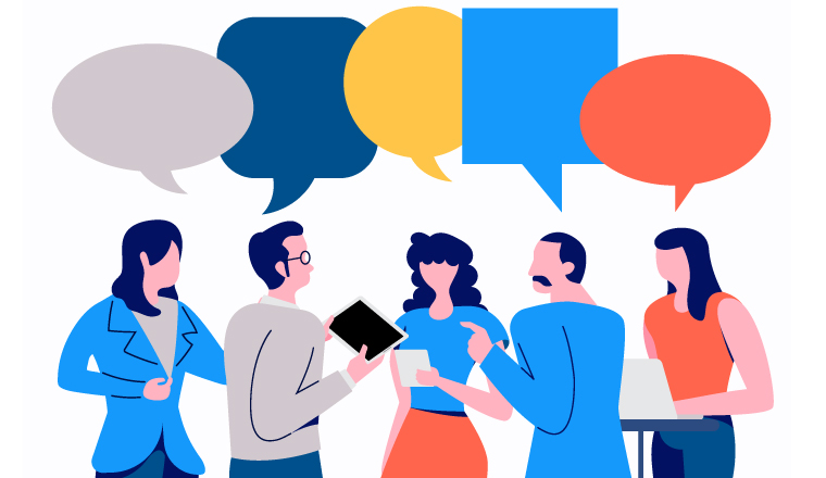 five people are chatting together and have a speech bubble above their head