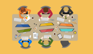 6 animated people work in at an open plan desk. top view