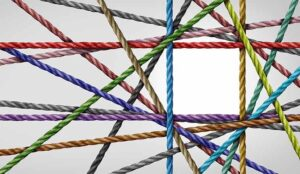 overlapped coloured rope