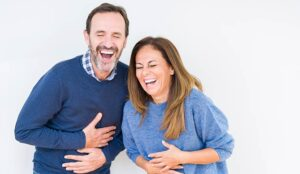 A photo of a laughing couple