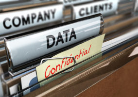 A group of files saying data, confidential, company and clients