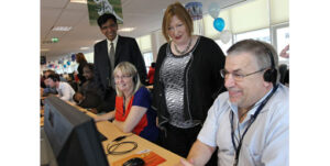 Edwina Hart and Firstsource call centre staff