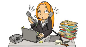 cartoon of lady trying to answer 3 phones looking stressed