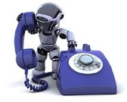 robot speaking down phone