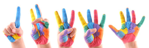 colourful painted hands counting from 1 to 5