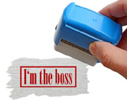 stamp saying I'm the Boss