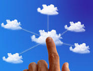 finger pointing to connected clouds
