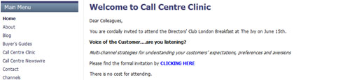 screen shot of call centre clinic site