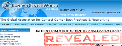 screen shot of contact center world site