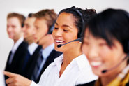 group of call centre agents smiling