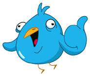 blue twitter bird expressing his views