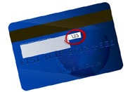 credit card showing cvc number