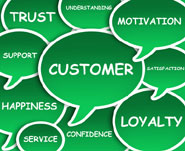 speech bubbles containing words relating to customers