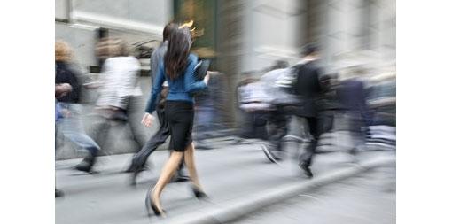 customers walking away along a street