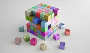 different coloured cube with pieces missing
