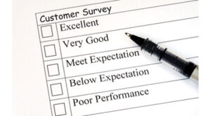 Example of a customer survey and pen