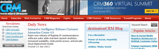screen shot of desination crm site