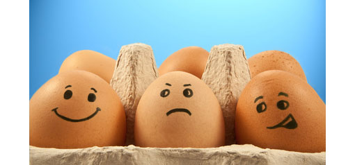 3 eggs with different facial expressions