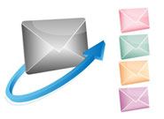 coloured envelopes and email symbol