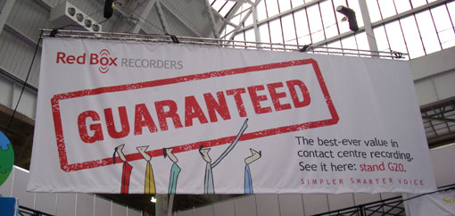 Red Box Recorders banner at the show