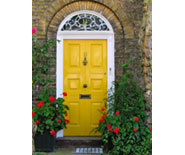 Attractive yellow front door
