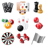 a selection of games like a dartboard and chess