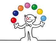clown juggling coloured balls
