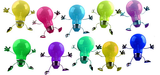 10 different coloured lightbulbs