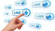 finger pointing to a like button