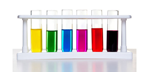 test tubes with different coloured amounts of liquid
