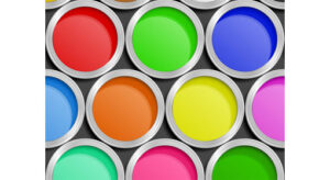 10 brightly coloured tins of paint