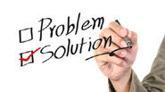 problem and solution with tick against solution