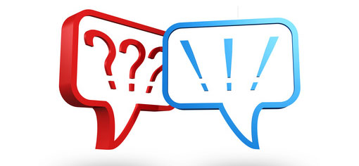 red speech bubble containing 3 question marks and blue speech bubble containing 3 exclamation marks