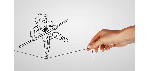 cartoon drawing of man on tightrope being held by a human hand