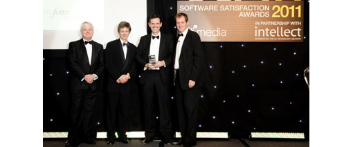 Award being presented to David Keene, VP of Strategy EMEA at Salesforce.com by Alastair Campbell