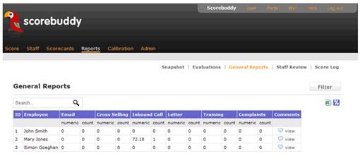 screen shot of scorebuddy software
