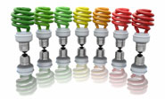 seven coloured energy saving light bulbs