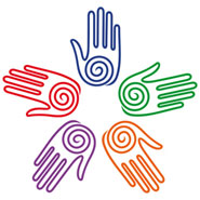 coloured hands making a circle pattern
