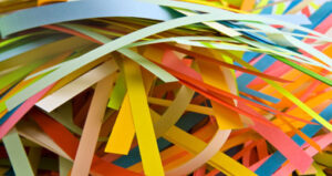 coloured shredded paper