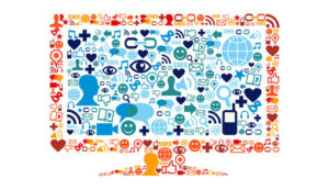 monitor made up of social media icons