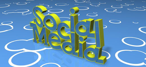 The words social and media