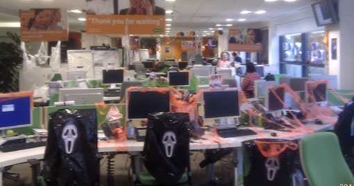 specsavers call centre dressed for Halloween