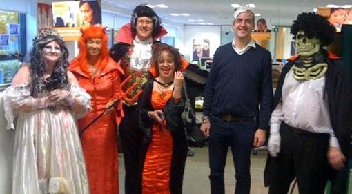 specsavers contact centre staff dressed up