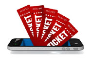fan of red tickets coming out of smart phone