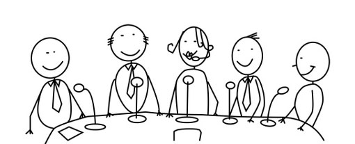 stick people sat around a table with microphones in a panel