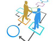 2 men stood on a flow diagram