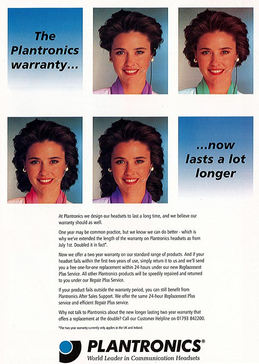 Here is an advert for Plantronics headsets from the 1990's (source: Plantronics)